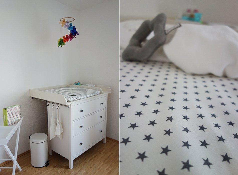 Baby Kinderzimmer Sugarapple Grau Weiß Gelb Sterne Feenreigen