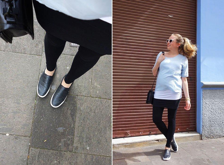 rebecca minkoff schwanger blau weiß leggings 6