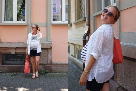 streifenshirt, weiße sandalen, kanallfarbe, ekulele, umstandsmode, sommerlook, schwangerschaft, maternity