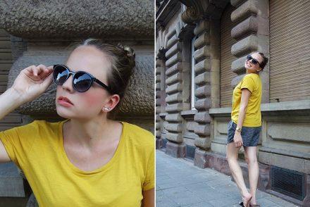 stoffshorts, hm, gelbes shirt, ekulele, birkenstock, casio, fashion, fashionblogger, german, blogger, neumama