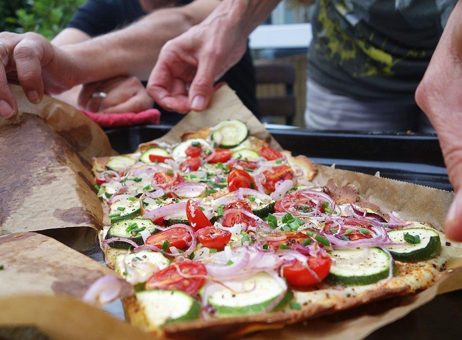 glutenfreie Pizza, Zucchini Pizza, Pizza ohne Weizen, ekulele, Frauke, foodblogger
