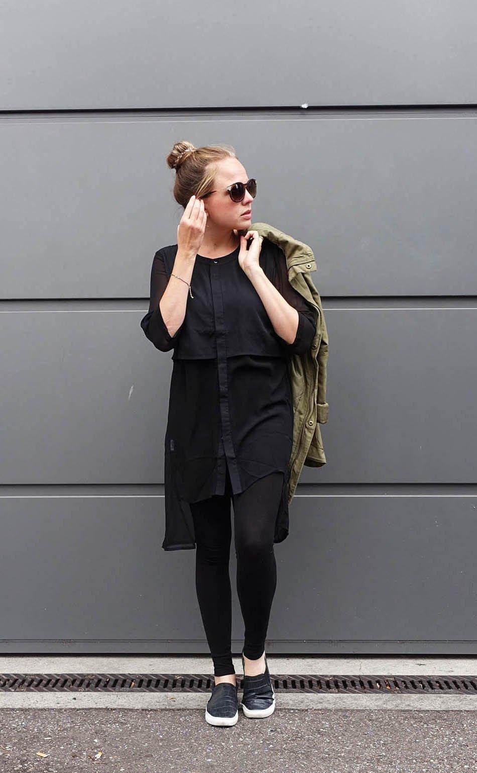 Herbst Outfit 2015 Parka all black ekulele fashionblogger schwarz (3)