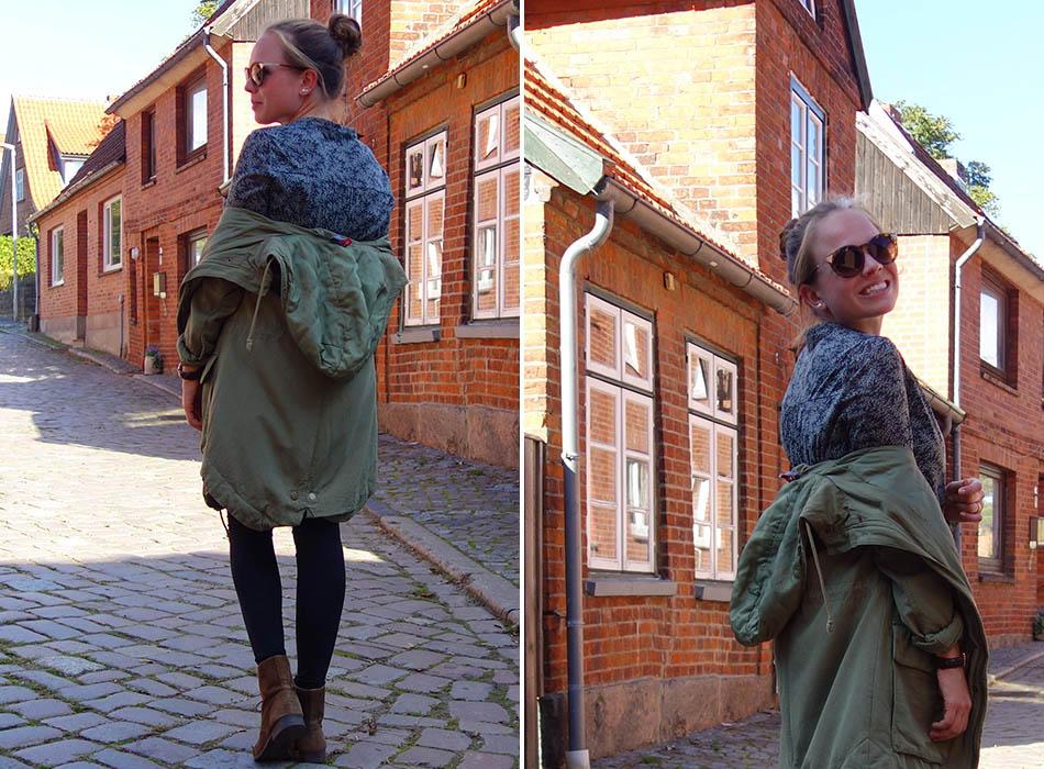 parka und kleid ekulele herbtmode herbstoutfit mamablogger mango blumenkleid olive