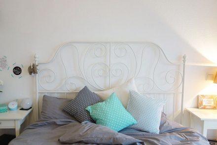 Unser neues Schlafzimme, schlafzimmer mit kupfer, ikea schlafzimmer, graue bettwäsche, ekulele, einrichtung, baby im elternzimmerr