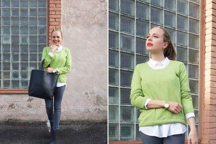 fair fashion, grüner pullover, ekulele, bluse bio, bio baumwolle, große kunstledertasche