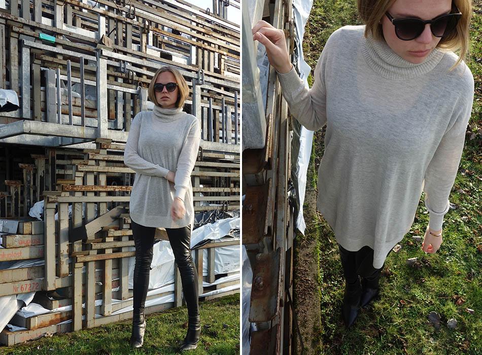 ekulele, modeblogger, lassiger winterlook, beige und schwarz kombinieren, longbob, dicke haare