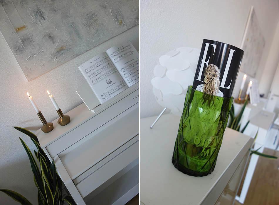 wohnzimmer frühlingshaft, deko, günstige umdekorieren, ekuele, einrichtung, simples wohnzimmer, ikea, bilderleiste, schaukel baby, zeitschrift in Vase