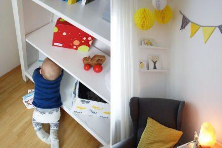 ekulele, babyzimmer, kinderzimmer in grau und gelb, ikea, homify, regal über bett, zwerg