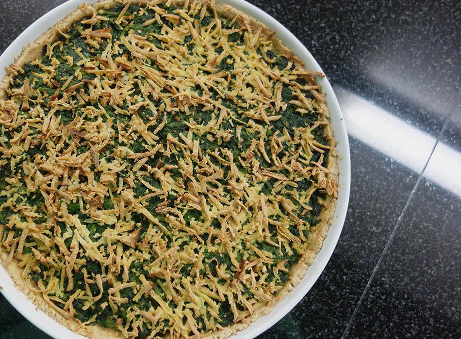 vegane quiche, schnelles rezept mit spinat, ekulele, veganes essen, spinat mal anders, foodblogger, german vegan