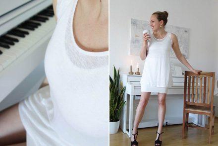 nachhaltiges Kleid, Look in weiß, weißer rock, ekulele, lana, fair fashion, bio, gots mode, summer 2016, fashionblogger, happy family