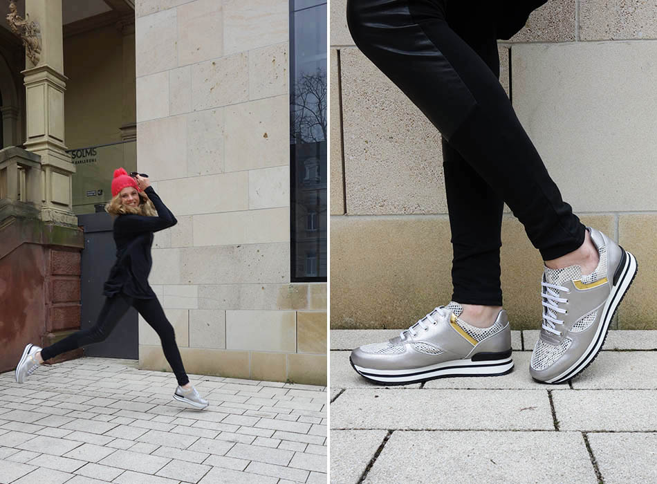 vegane, silberne sneakers, bio shirt, funktions schnitt, bahatika, fair fashion, streetstyle, ekulele, slow fashion, all black, pinke mütze, karlsruhe