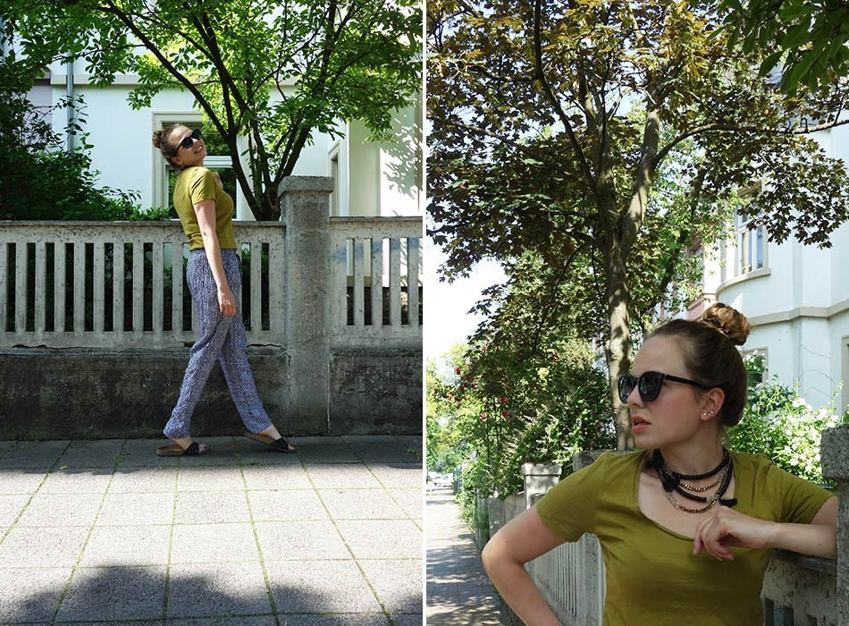 sommeroutfit, leichte hose, lange stoffhose, ekulele, heißer sommer, modeblog, bio shirt