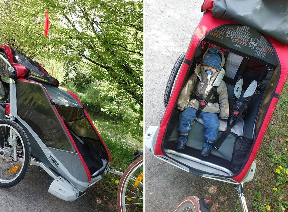 unsere erste radtour mit baby thule chariot cougar 2. Black Bedroom Furniture Sets. Home Design Ideas