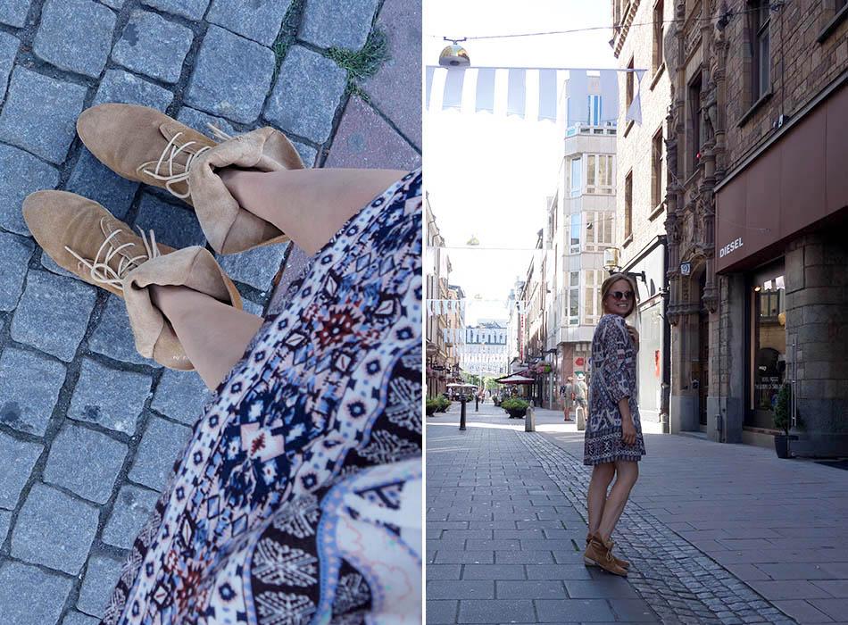 boho kleid, wildleder stiefelel, streetstyle stockholm, ibiza look