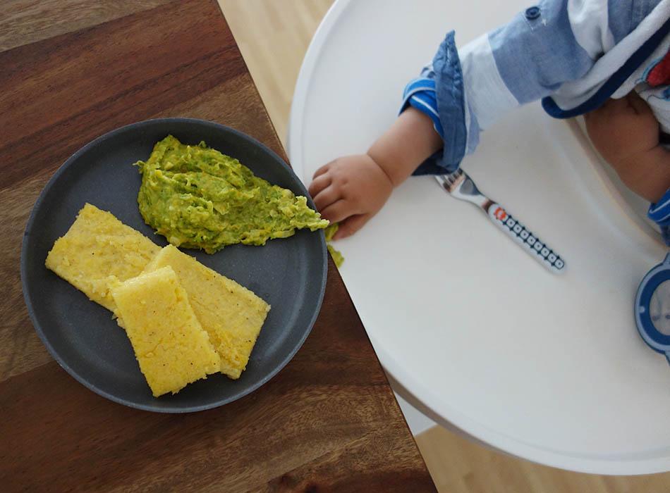 polentaschnitten, grünes gemüse, ekulele, mamablog