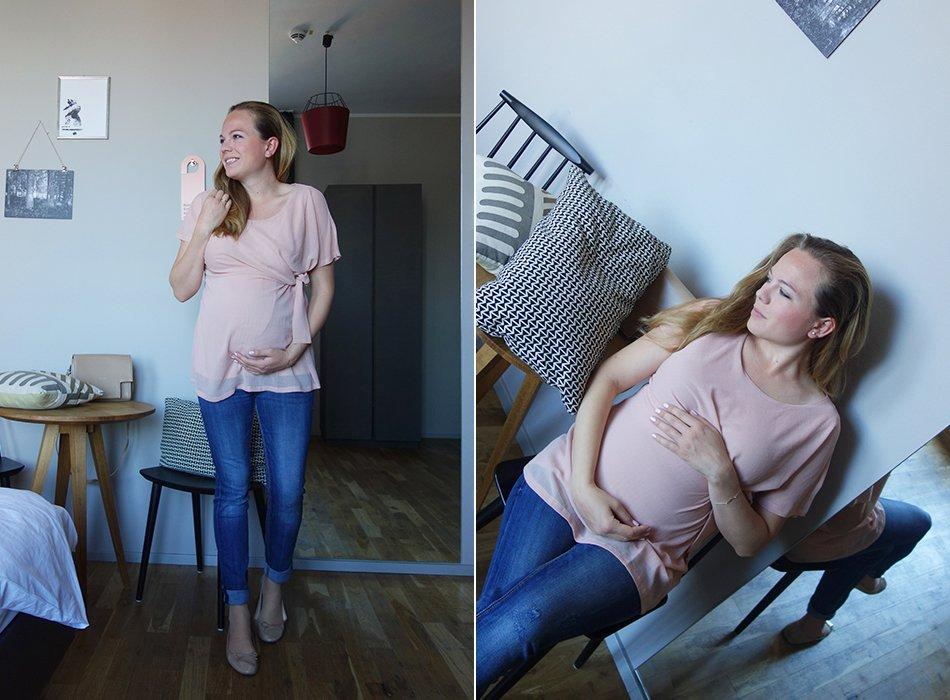 25 SSW, umstandsmode, update, zweites kind, mamablog, schwangerschaftsmode, karlsruhe, bluse, rosa, kugelzeit, sommerbaby, 2017, update, neues, ischias