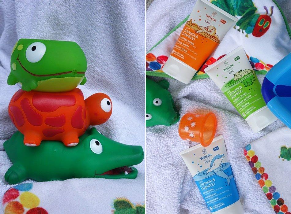 kleinkind, hygiene, sommer, badezeit, duschen, waschen, lotion, badezimmer, kids, 2in1, weleda, erfahrung, gewinnspiel