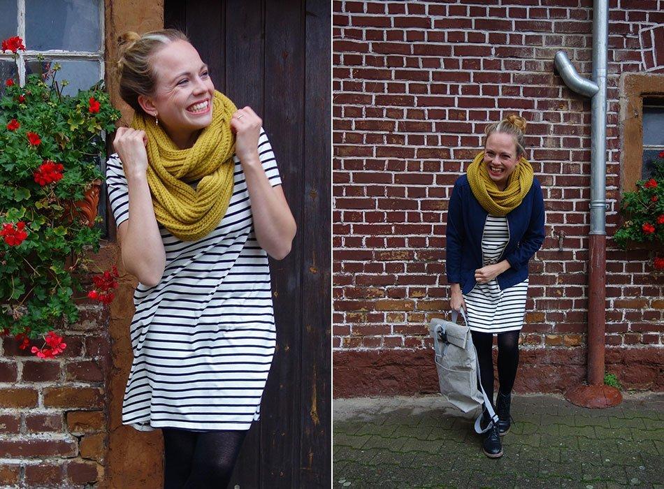 Streifenkleid und Blousonjacke - Faire Mode und Minimalismus