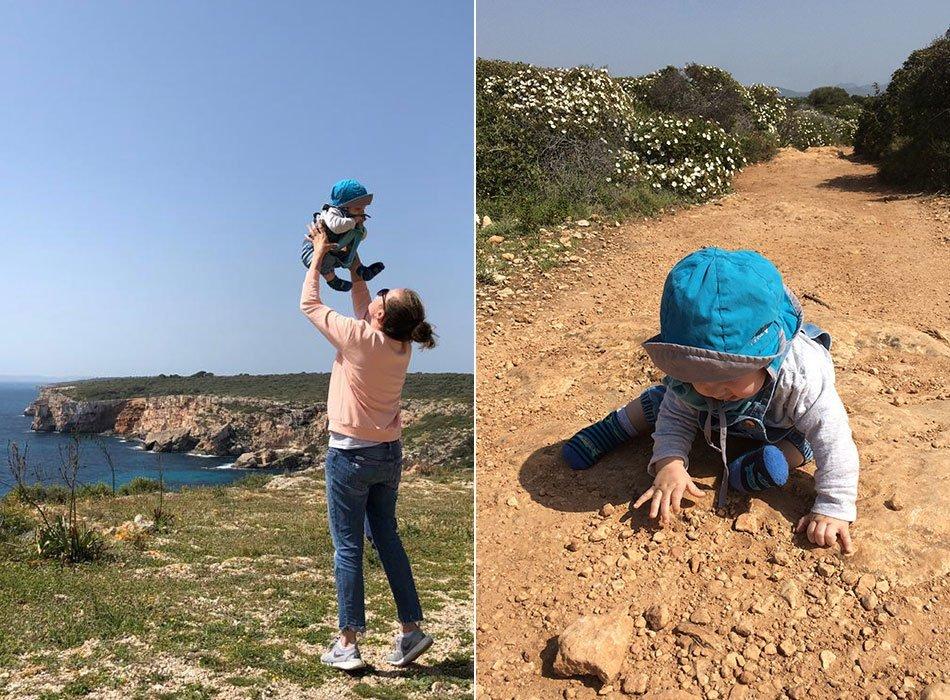 reisen mit baby, mallorca, erfahrung, wandern, trage