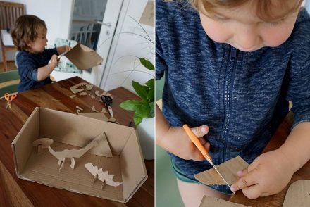 Pappe, Bastelidee, Pappe, Karton, schneiden, Kleinkind, Dino, DIY, upcycling, nachhaltigkeit, altpapier