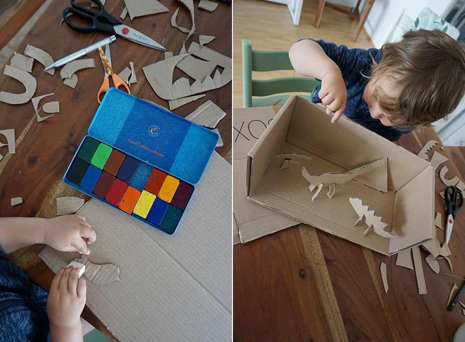 Cardboard, Craft Idea, Cardboard, Cardboard, Cutting, Toddler, Dino, DIY, Upcycling, Sustainability, Wastepaper