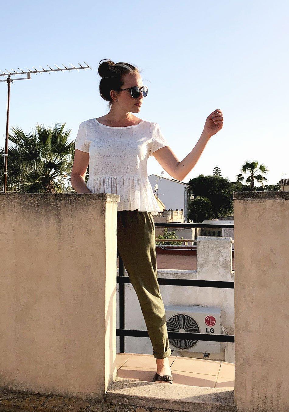 Sommermode, fair fashion, bluse, rüschen, gewinnspiel, dach, mallorca, cala llombards, lookbook
