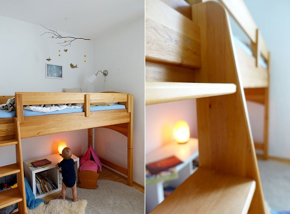 Bio Kinderbett, gesunder Schlaf, Hochbett, Kleinkind, halbhohes Bett, Einblick ins Kinderzimmer, Waldorf