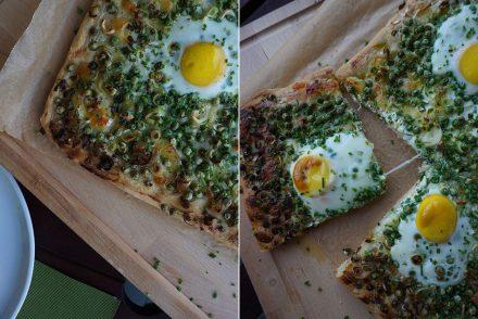 pizza, polenta, vegetarisch, essen, sommer, ekulele, lauch, ei, flammkuchen, maisgriess