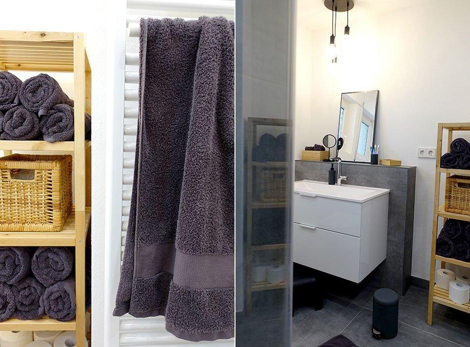 Badezimmer, Renovierung, Probleme, Betonoptik, XXL Fliesen, Bio Handtücher, matt schwarz