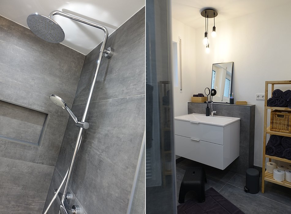 Unser neues Badezimmer - XXL Fliesen in Betonoptik - Ekulele ...