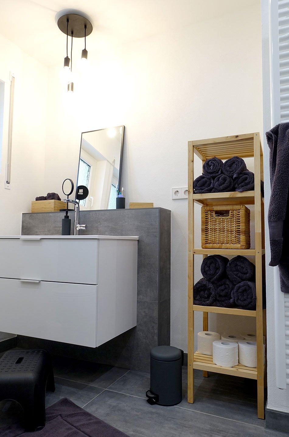 Unser Neues Badezimmer Xxl Fliesen In Betonoptik Ekulele