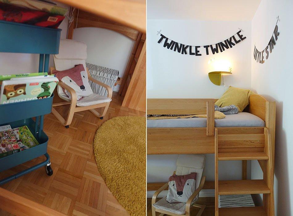 Kinderzimmer, einrichten, Jnnge, dreijährig, Farbkonzept, petrol, senfgelb