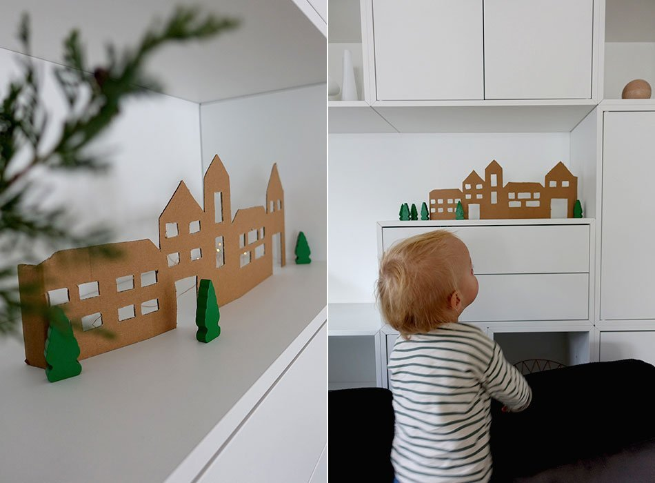 Upcycling, diaper box, box, cardboard, Lillydoo, experience, advent, crafts, winter village