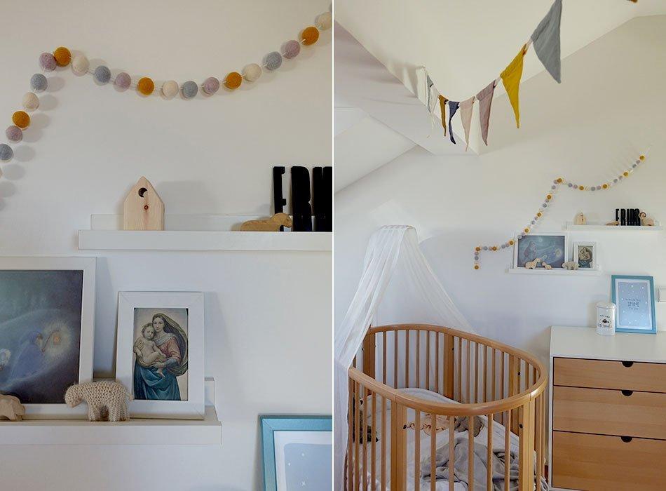 Kinderzimmer, Dachschräge, Junge, Pikler Dreieck, Stokke Kommode, Sleepi, Wimpelkette bunt, Filzkugeln, Turnzimmer