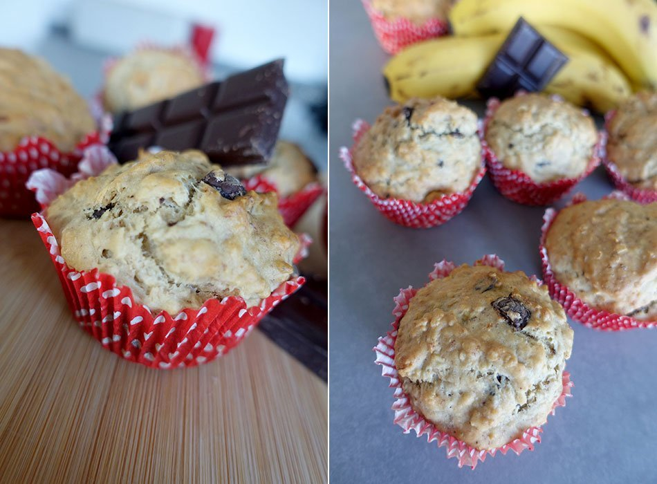 vegan backen, Muffins mit Schokolade, fettarm, gesund, Kuchen für Kinder, zuckerarm