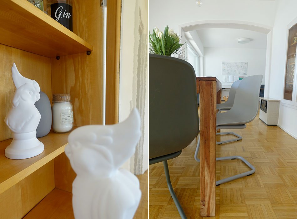Esszimmer, Holztisch, grauer Stuhl, MYCS, Einrichtungsidee, Holz, So lebe ich