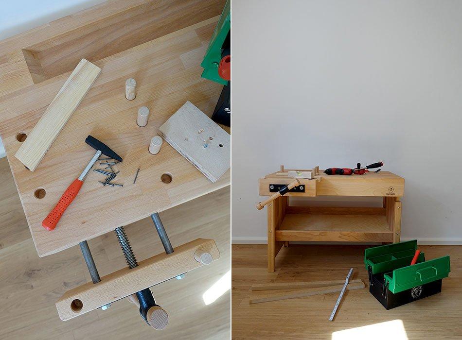 werken, Kinder, Werkbank, BioKinder, Holz, Geschenkidee, Kinderwerkzeug