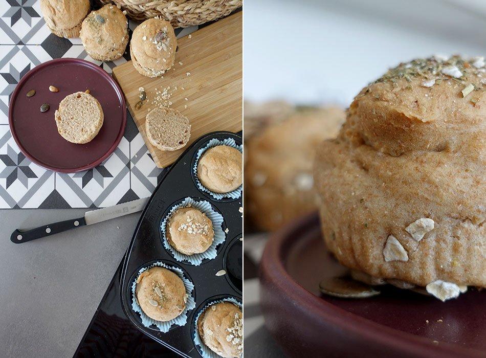 Gesundes Brot, Sonntagsbrötchen, einfach backen, veganes Brot