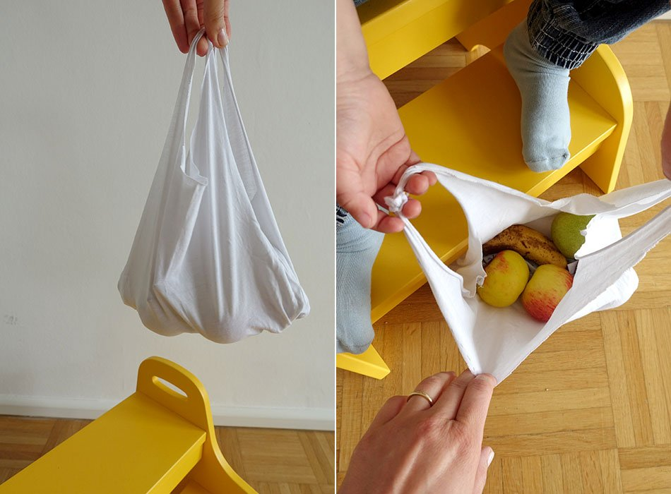 Living sustainably, family, shopping, bag, upcycling, crafting idea, without sewing, bag