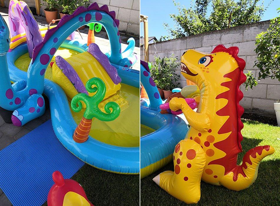 Planschbecken, Pool, Dino, Kinder, Garten