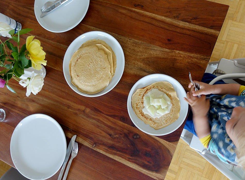 Pfannkuchen, herzhaft, KOhlrabi in weißer Soße, kochen für Kinder, Speiseplan, 7 Rezepte