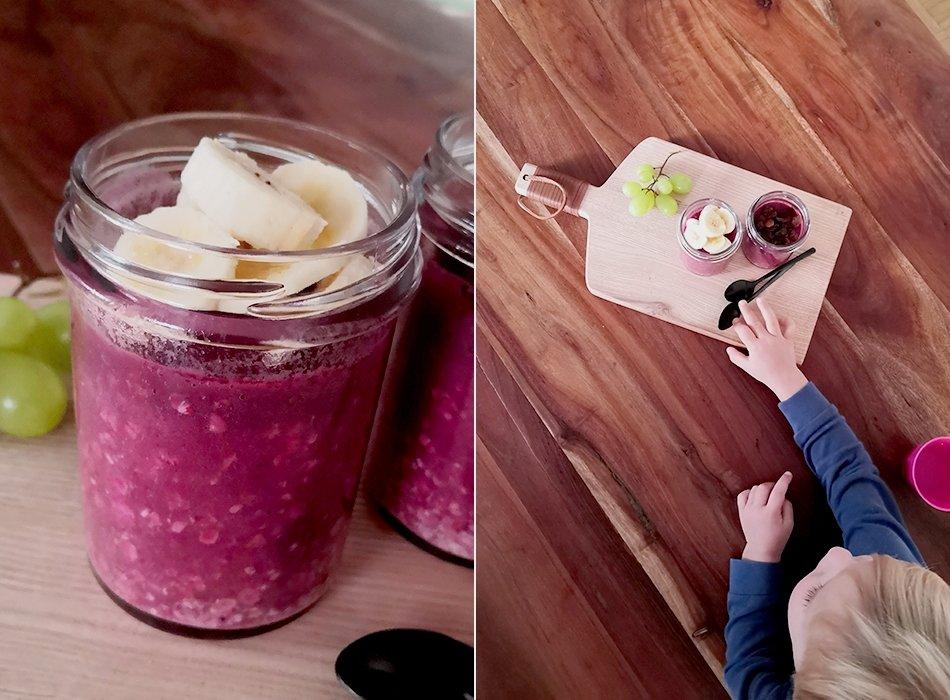 Pinkes Porridge mit Rote Bete und Banane