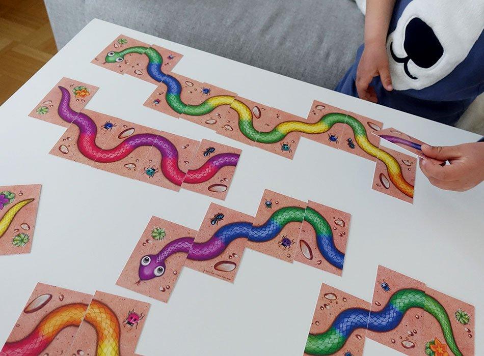 Das Spiel Regenbogenschlange liegt auf dem Tisch