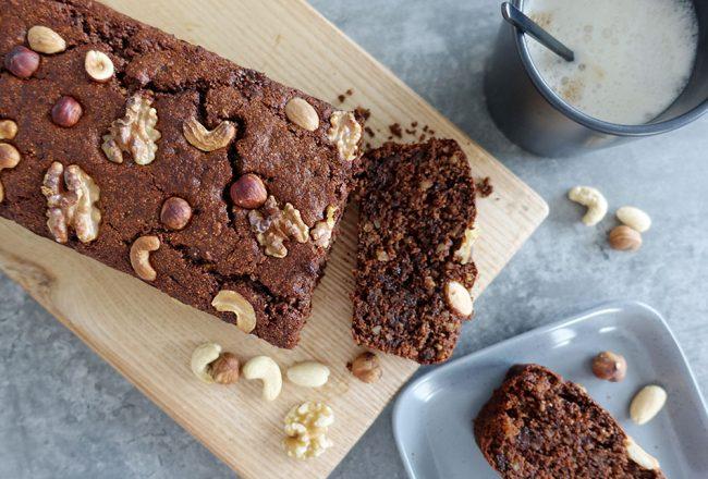veganer Nusskuchen mit Schokolade: schnelles, veganes Rezept
