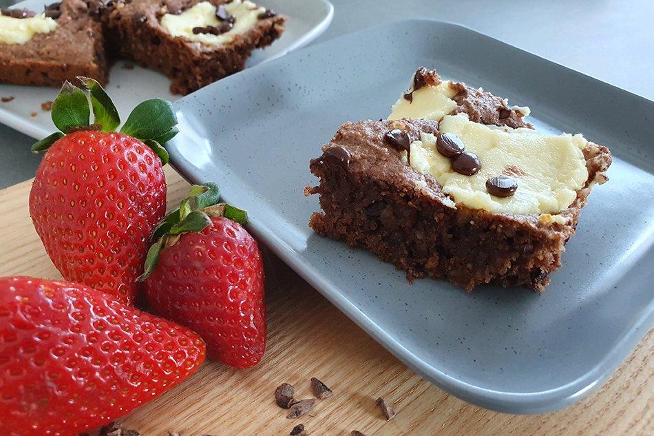 Gesunde backen: Gesund Cheesecake Brownies