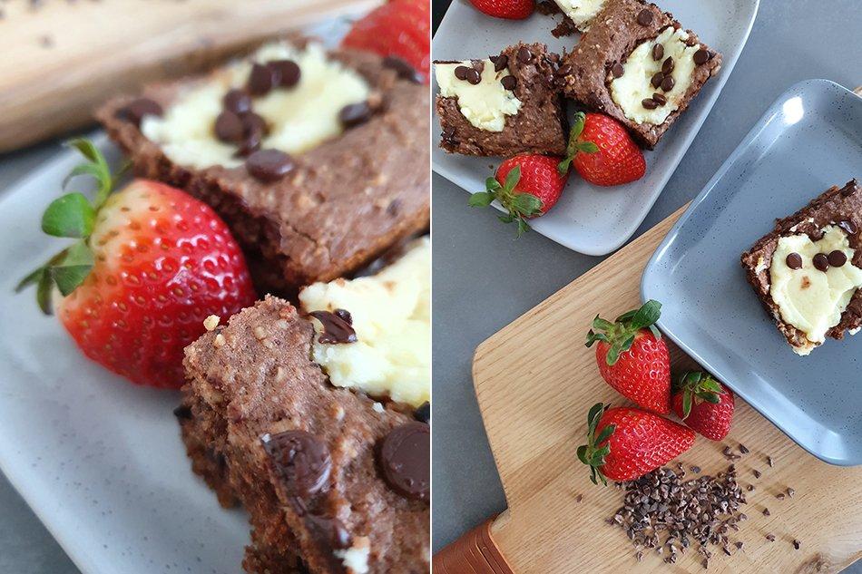 Backen ohne Zucker: Gesunde Cheesecake Brownies