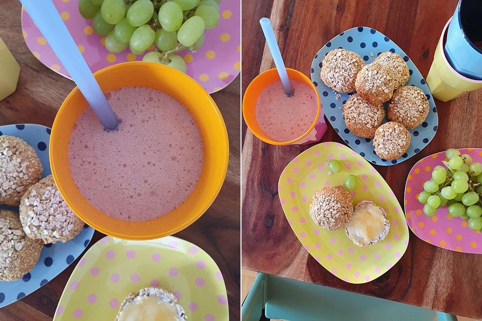 Frühstückideen für Kinder: Blitzbrötchen und Smoothie
